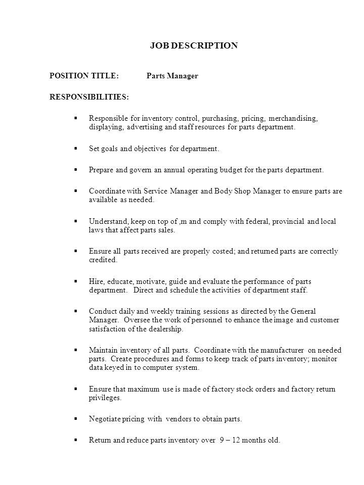 parts manager job description - Pinarkubkireklamowe