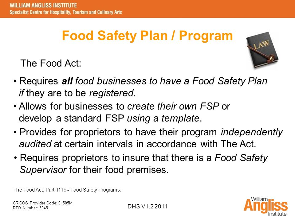 Implement Food Safety Procedures SITXFSA001A DHS V ppt video online