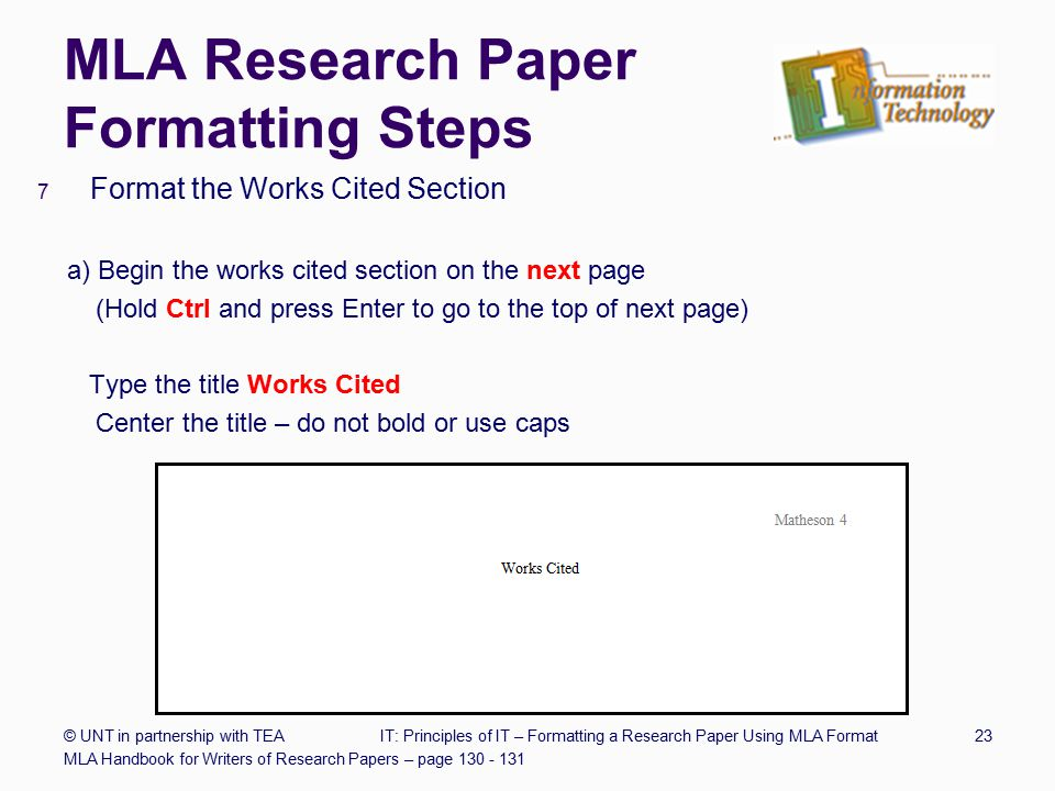 Mla format of writing a research paper Term paper Writing Service