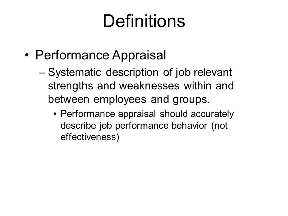 Definitions Performance Appraisal - ppt video online download