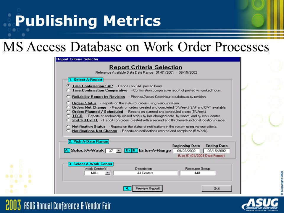 microsoft access work order database sap plant maintenance