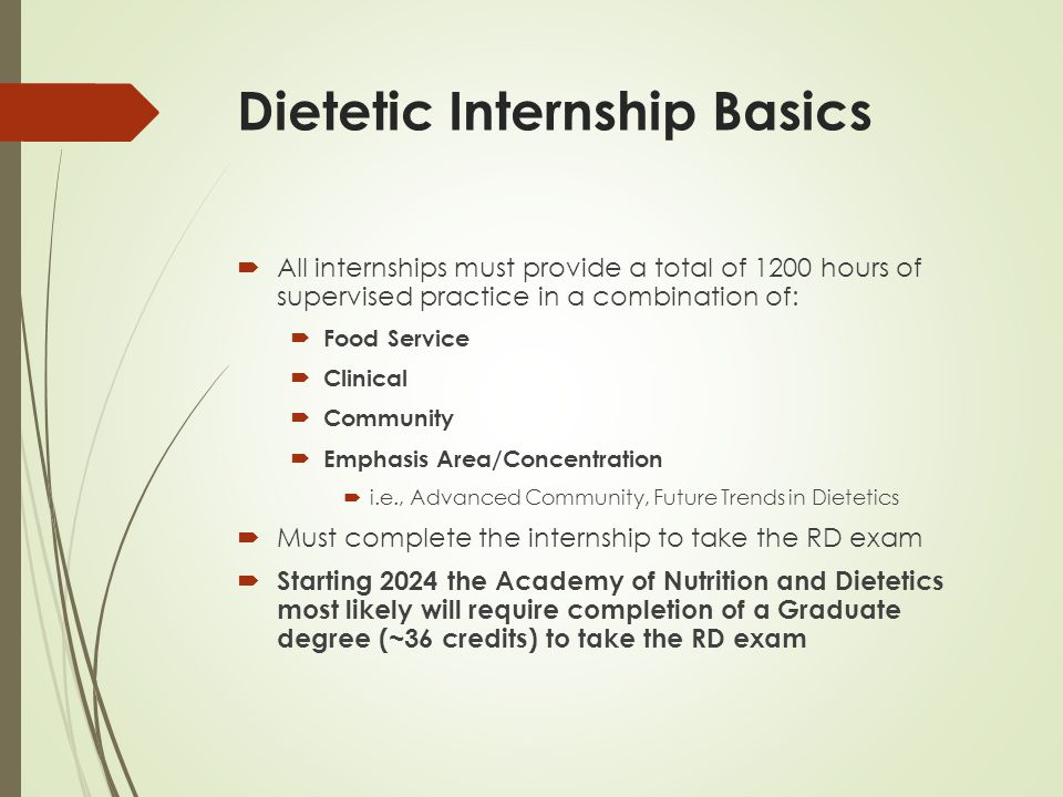 Dietetic Internships Overseen by the Accreditation Council for