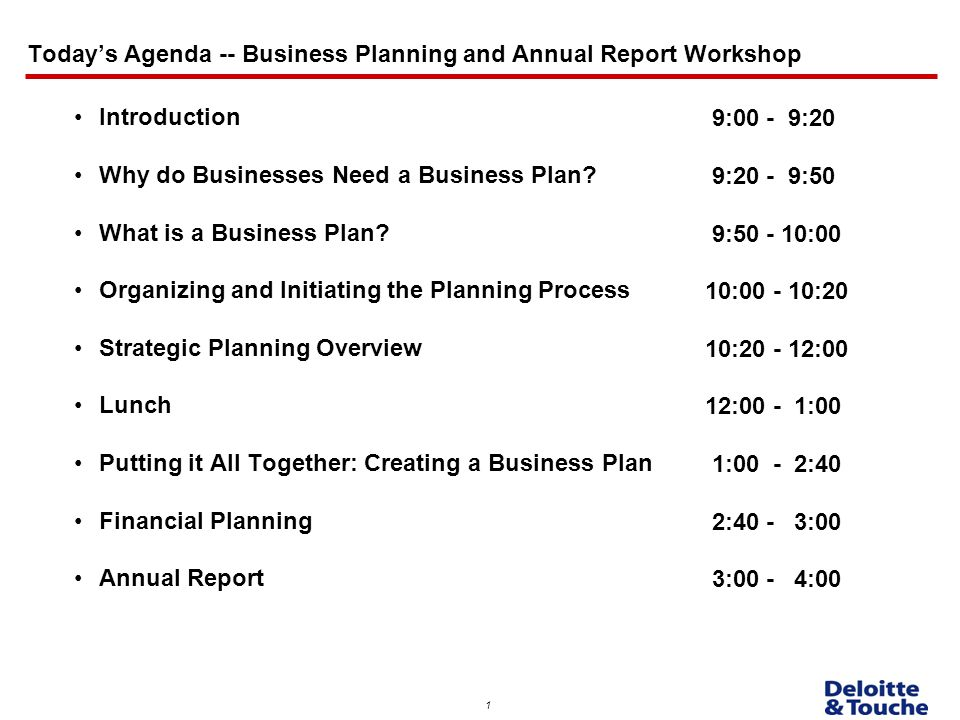Today\u0027s Agenda -- Business Planning and Annual Report Workshop - ppt