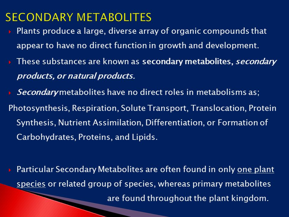 Chapter 13 Secondary Metabolites and Production - ppt download