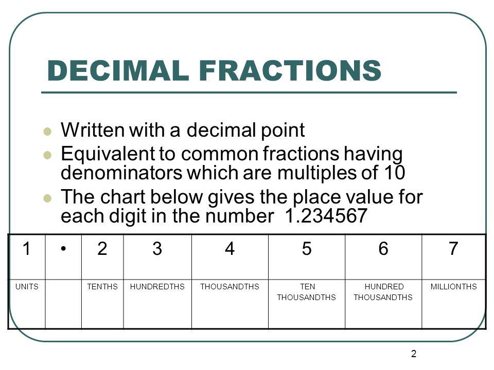 Unit 3 Decimal Fractions - ppt video online download - place value unit