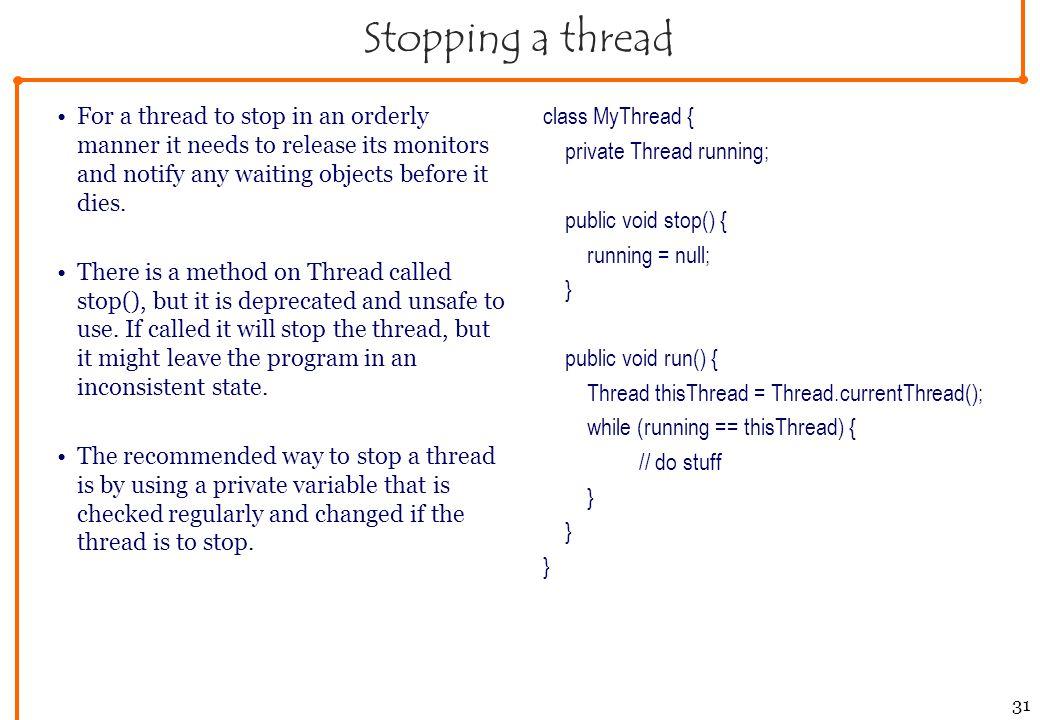 java thread suspend resume example
