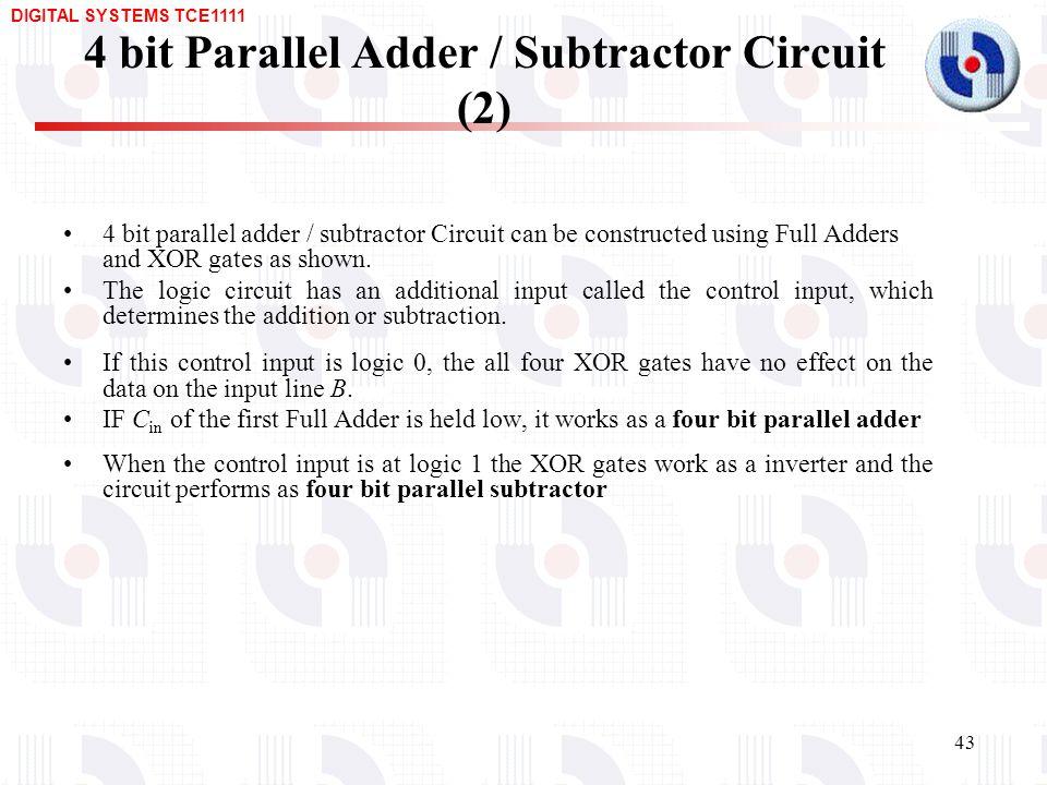 Design of Arithmetic Circuits \u2013 Adders, Subtractors, BCD adders