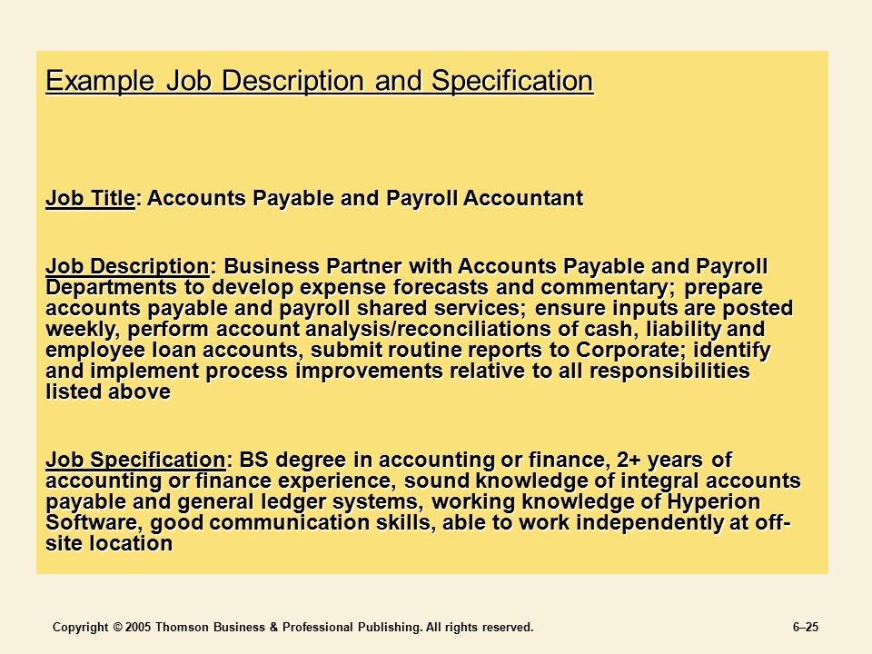 Jobs and Job Analysis Chapter 6 SECTION 2 Staffing the Organization - Accounting Job Titles