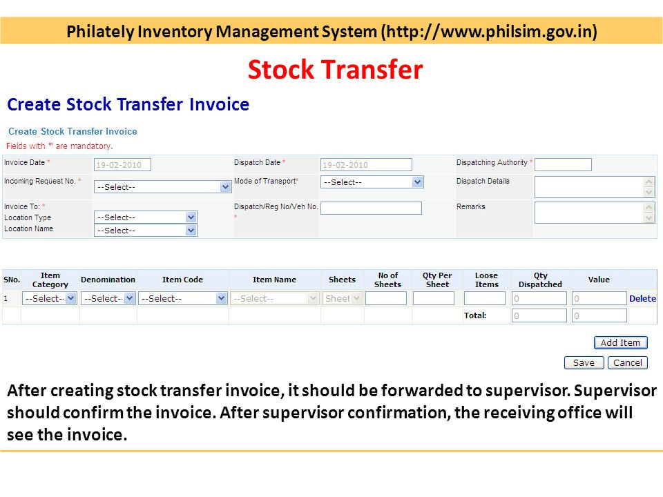 Philately Inventory Management System ( Operational since Dec-2009