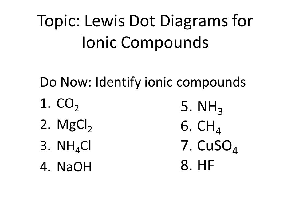 Topic Lewis Dot Diagrams for Ionic Compounds - ppt video online