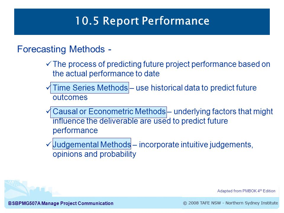105 Report Performance The process of collecting and distributing