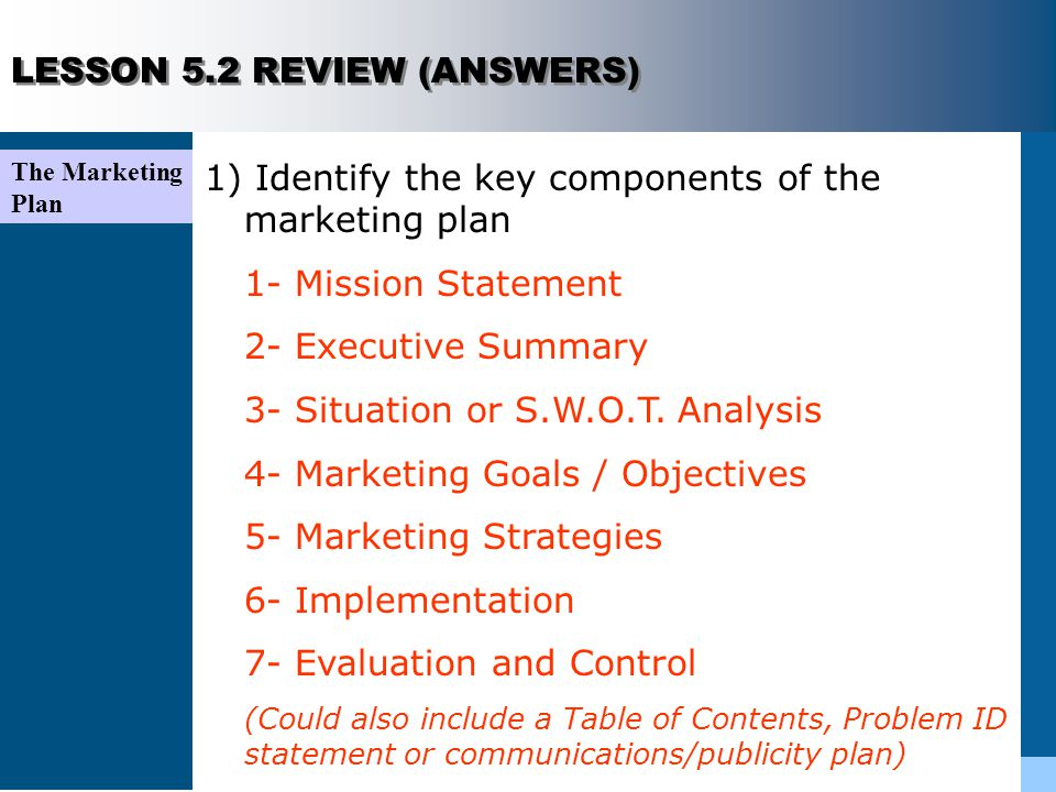 Lesson Components of an Effective Marketing Plan - ppt video online