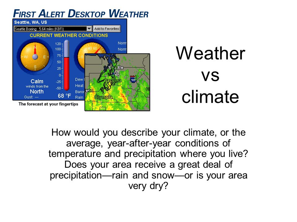 Weather vs climate How would you describe your climate, or the