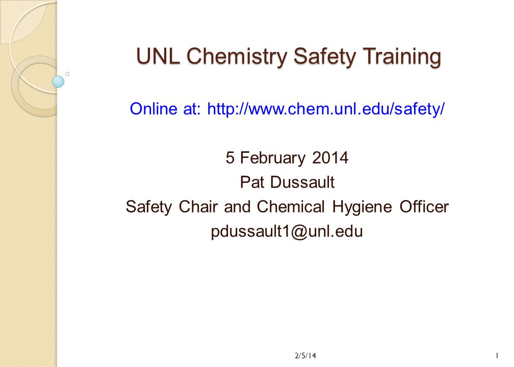 UNL Chemistry Safety Training - ppt video online download