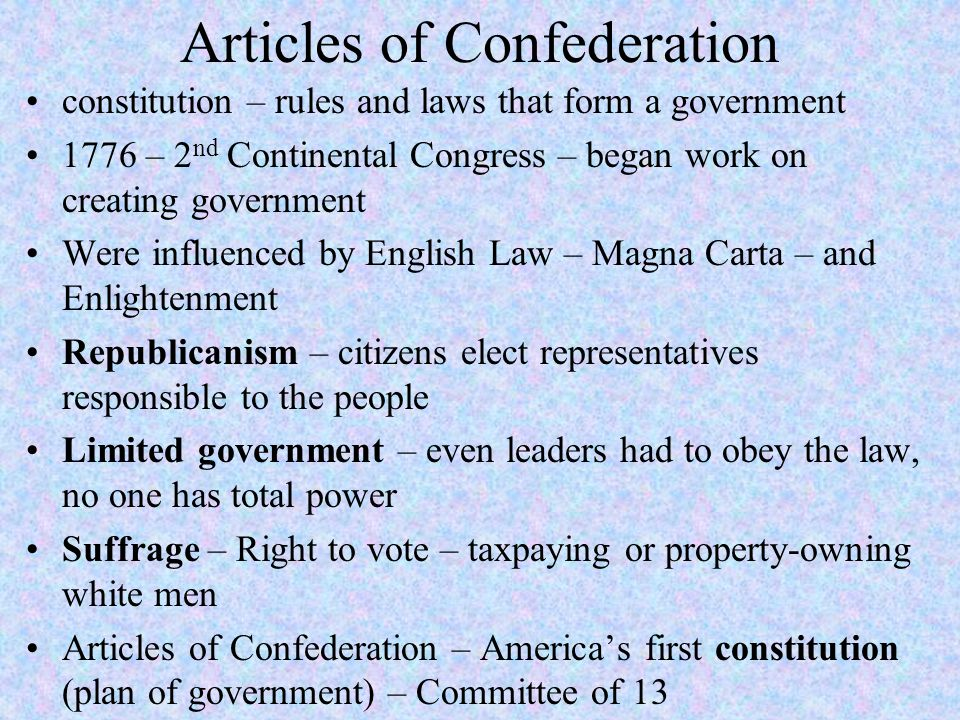 Articles of Confederation/US Constitution - ppt download - Work Articles