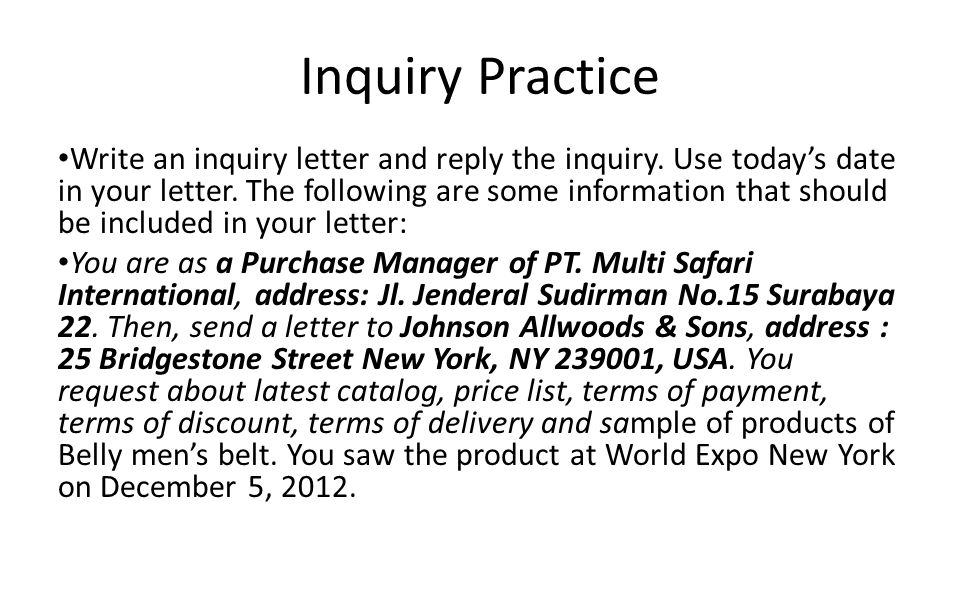 Inquiry Letters and Replying to the Inquiry - ppt video online download