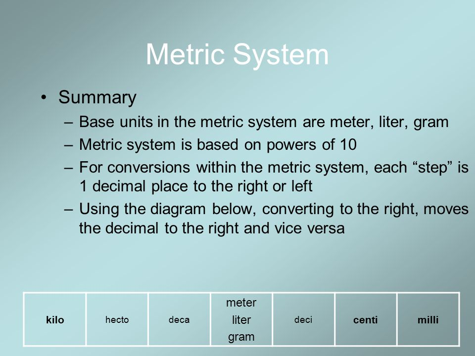 METRIC SYSTEM - ppt download