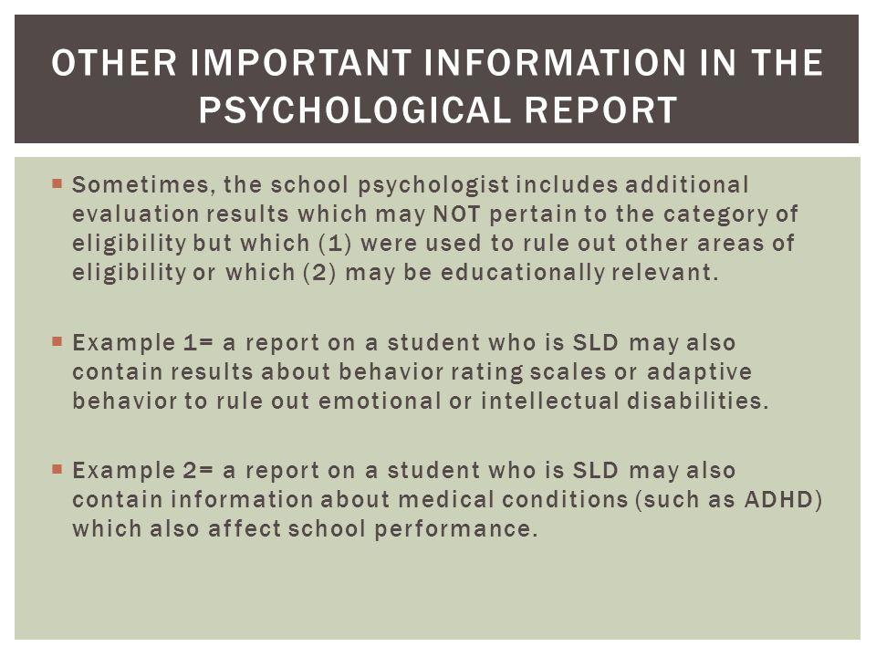 Sample school psychological evaluation report