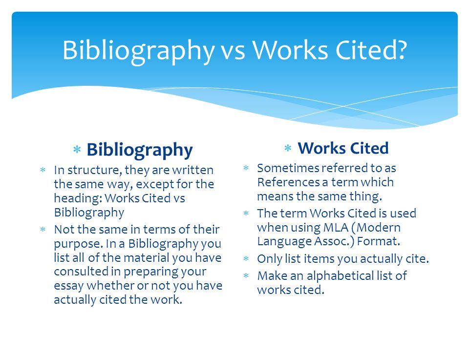 Mla works cited structure - MLA Style Works Cited Page - Austin Peay