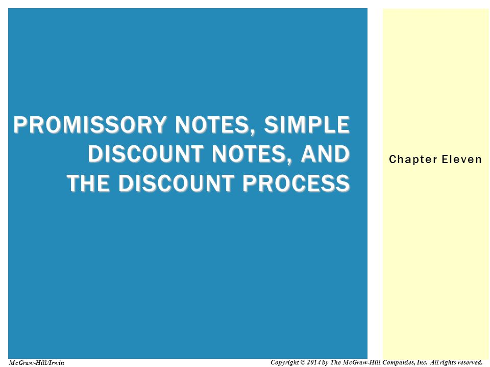 Promissory Notes, Simple Discount Notes, and The Discount Process