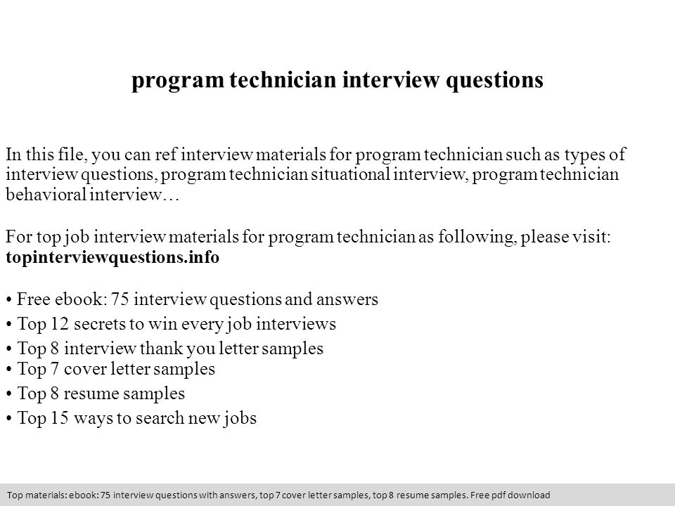 program technician interview questions - ppt video online download - resume answers