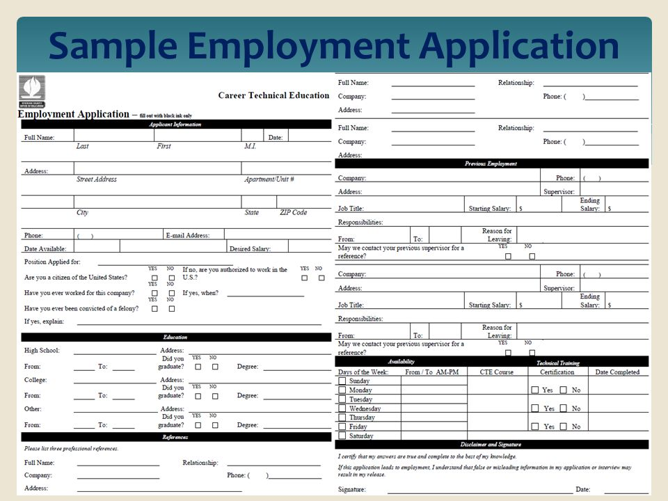Riverside County Office of Education Career Technical Education - sample employment application