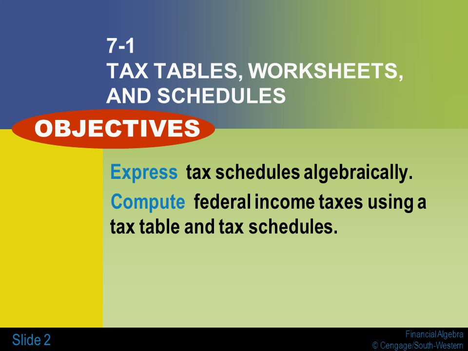 7 INCOME TAXES 7-1 Tax Tables, Worksheets, and Schedules - ppt video