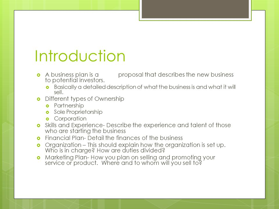 Business Plan Introduction - ppt download