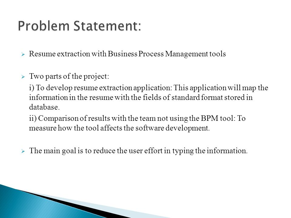 Resume Extraction with Business Process Management (BPM) tools - ppt