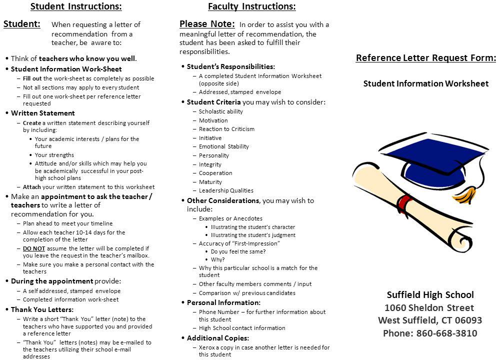 Reference Letter Request Form Student Information Worksheet - ppt