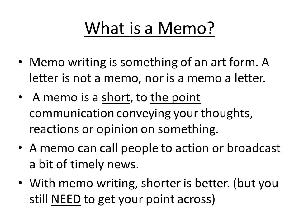 Memo Writing - ppt video online download