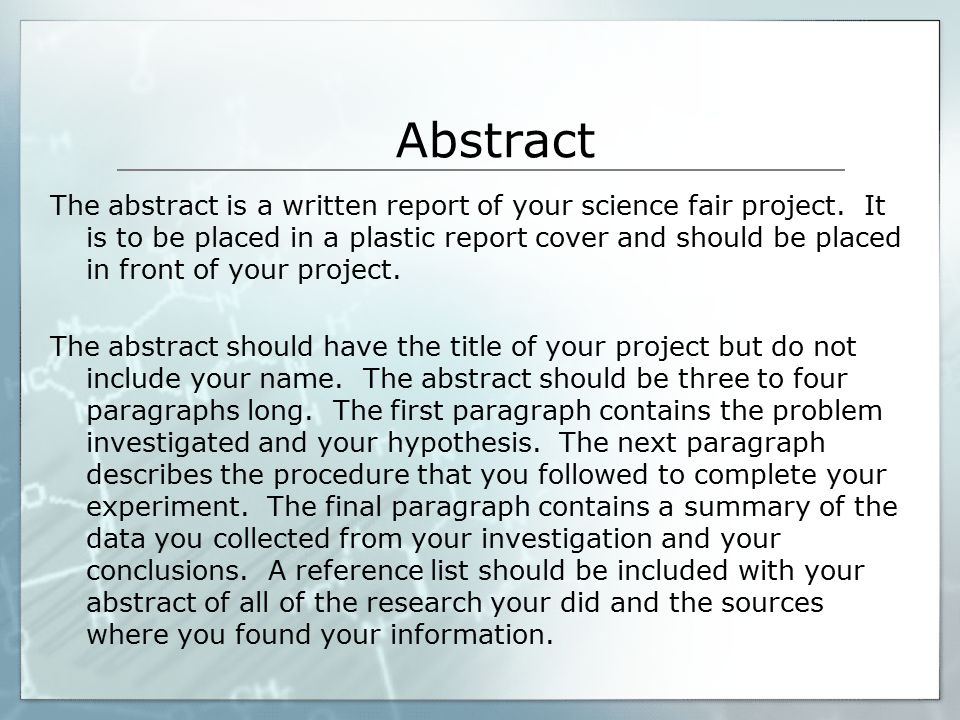 Science fair project research paper abstract Essay Academic