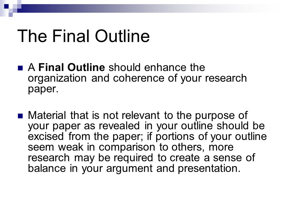 Research Paper The Outline - ppt video online download