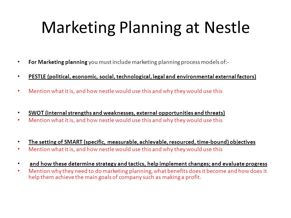 Marketing research and Marketing Planning at Nestle - ppt video - making smart marketing plan