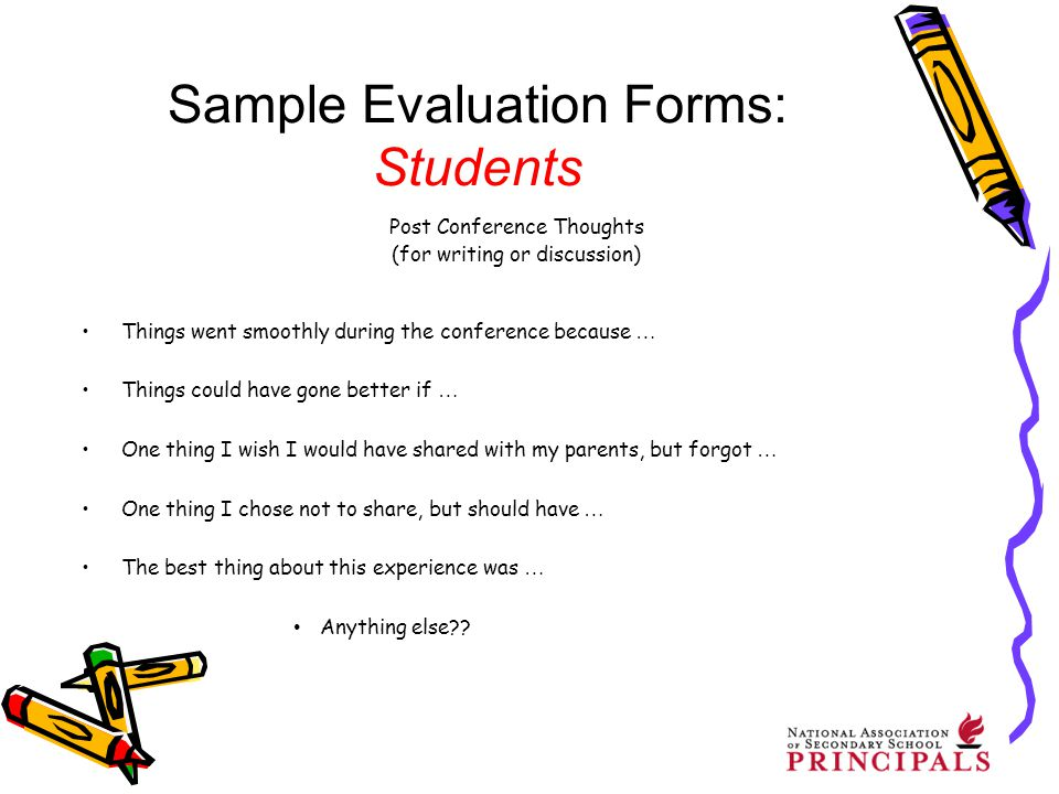 Implementing Student-Led Conferences in Your School - ppt video - sample student evaluation forms