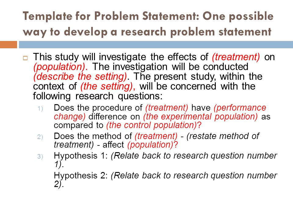 WRITING PROBLEM STATEMENT FOR RESEARCH IN SCIENCE  TECHNOLOGY - ppt