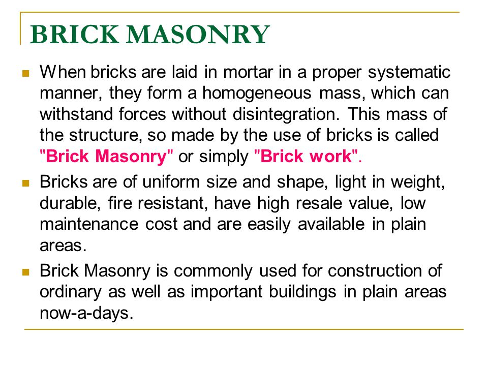BUILDING CONSTRUCTION CHAPTER 01 MASONRY - ppt download