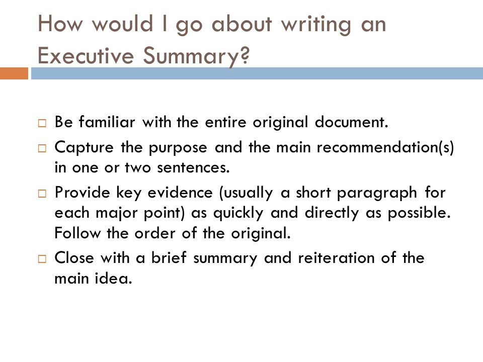 How to Write an Executive Summary - ppt video online download