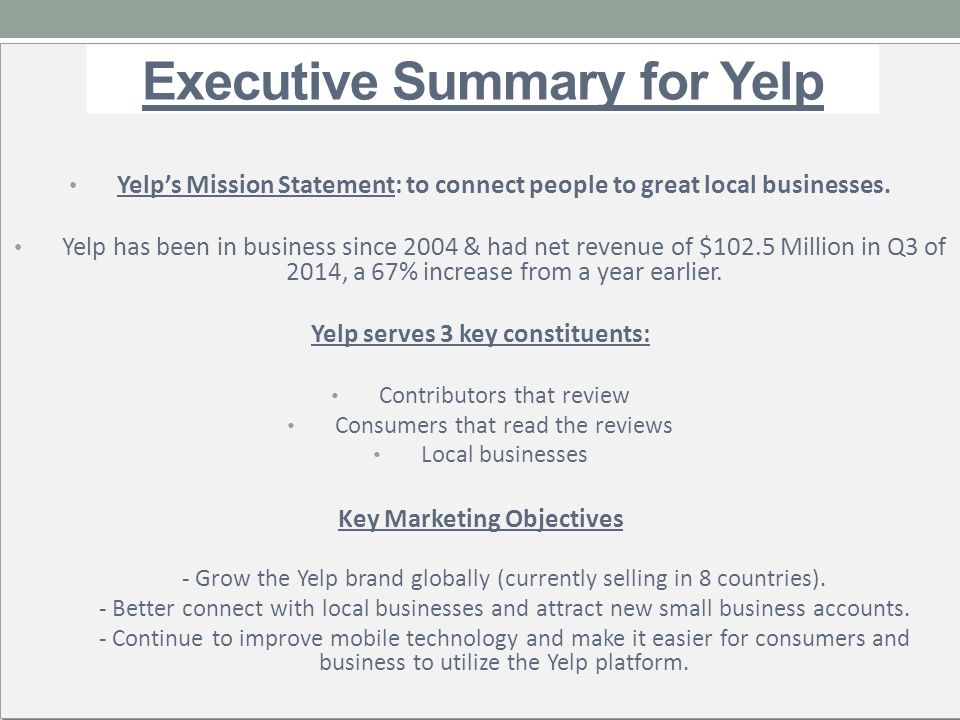 Executive Summary for Yelp - ppt video online download