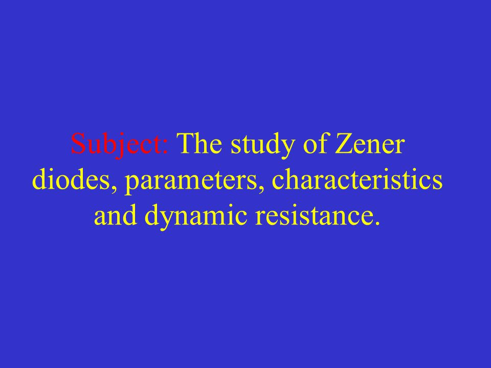 Zener diodes General description Stabilitron (Zener) diodes are