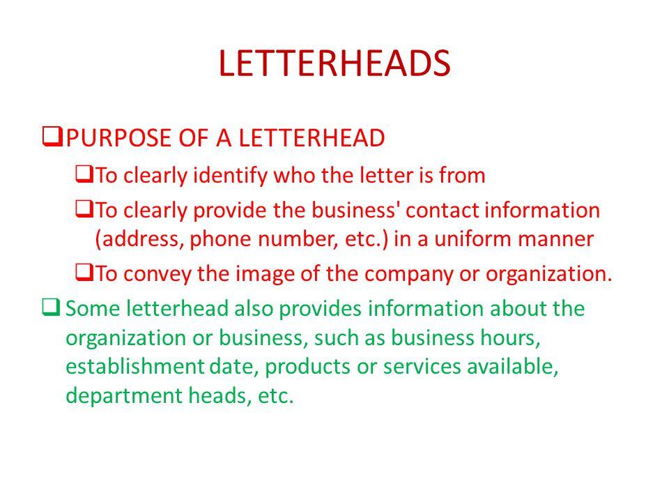 LETTERHEADS PURPOSE OF A LETTERHEAD - ppt video online download