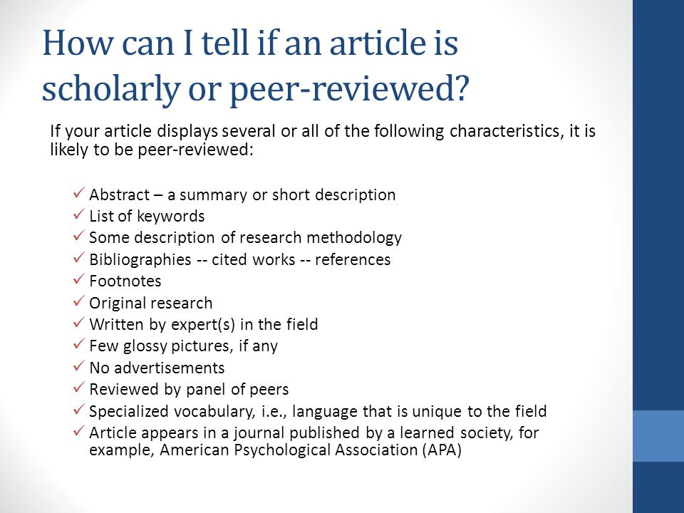 How to Identify Peer-Reviewed, Scholarly  Academic Articles - ppt