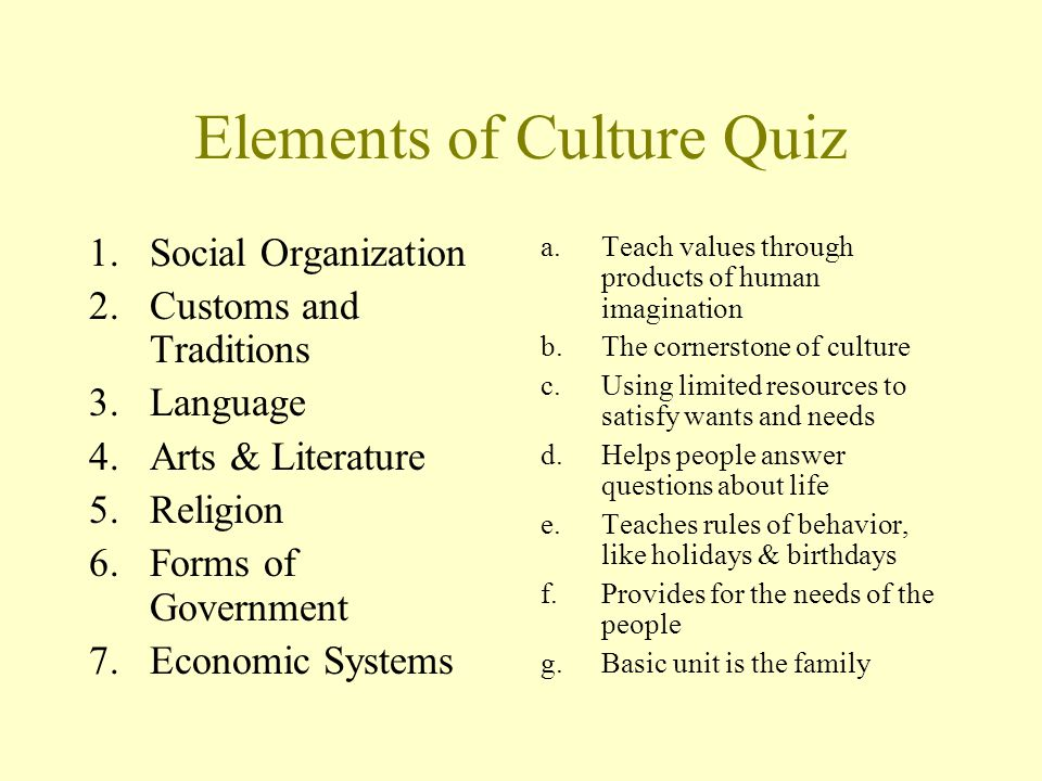 Seven Elements of Culture - ppt video online download