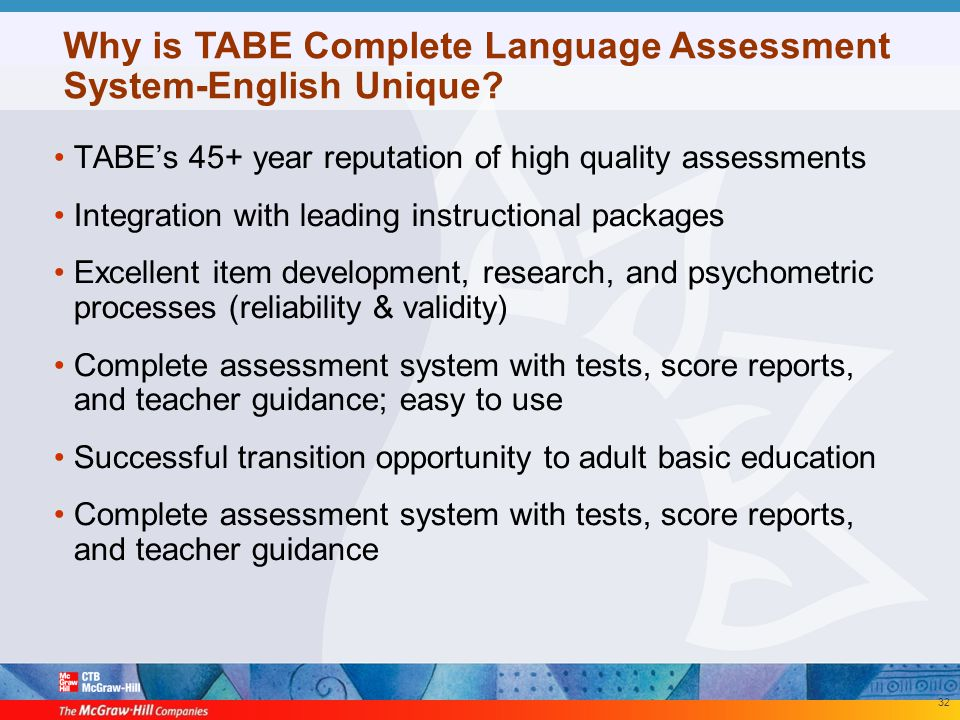 TABE Complete Language Assessment System \u2013 English™ - ppt download