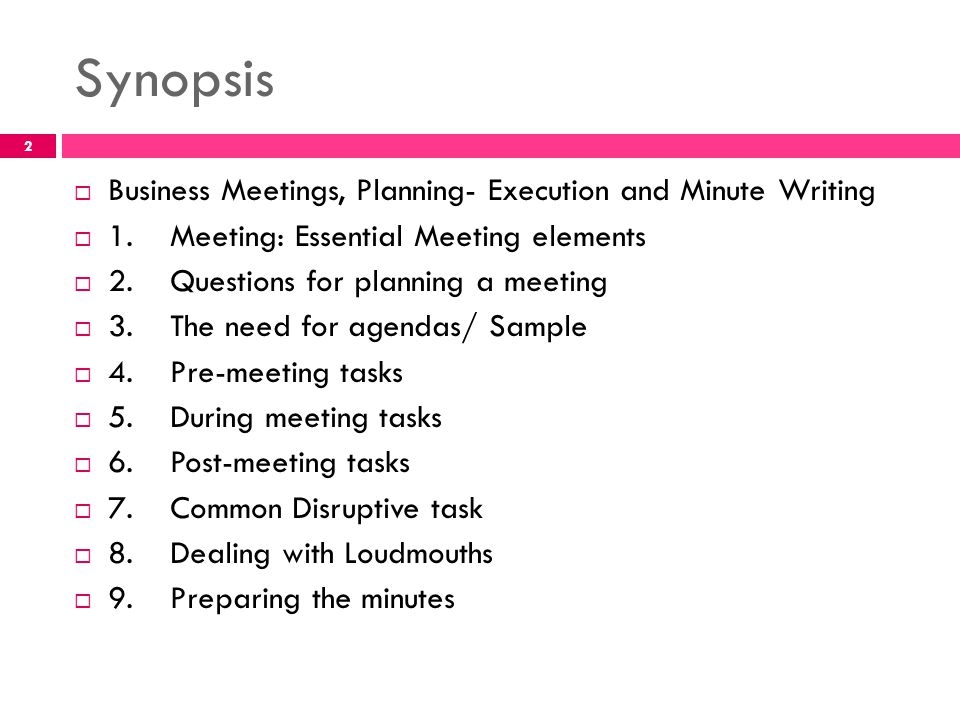 Business English Lecture ppt video online download - Meeting Outline Sample