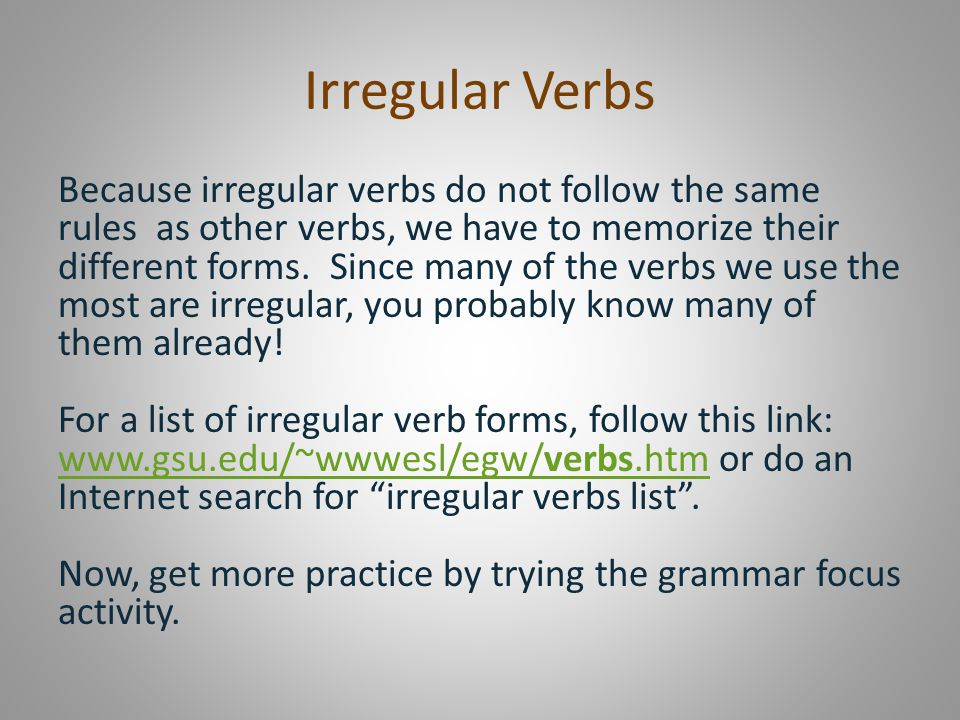 Irregular Verbs Present, Past and Past Participle - ppt video - verbs list