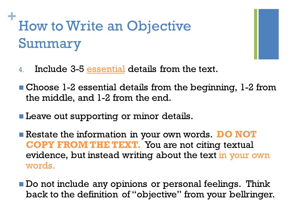 Writing an Objective Summary - ppt video online download