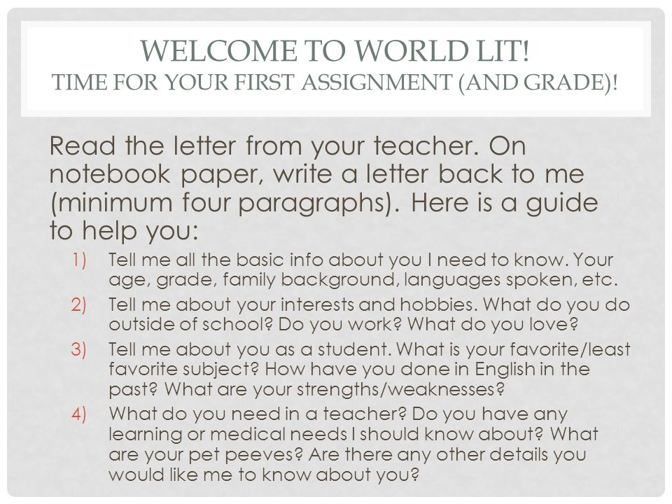 Warm-Up INFO CARD On the front Last Name, First Name - ppt download - teacher welcome back letter