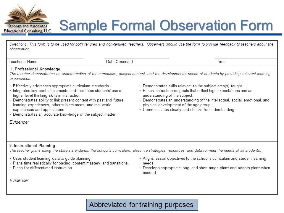 Stronge Teacher Effectiveness Performance Evaluation System - ppt - observation feedback form