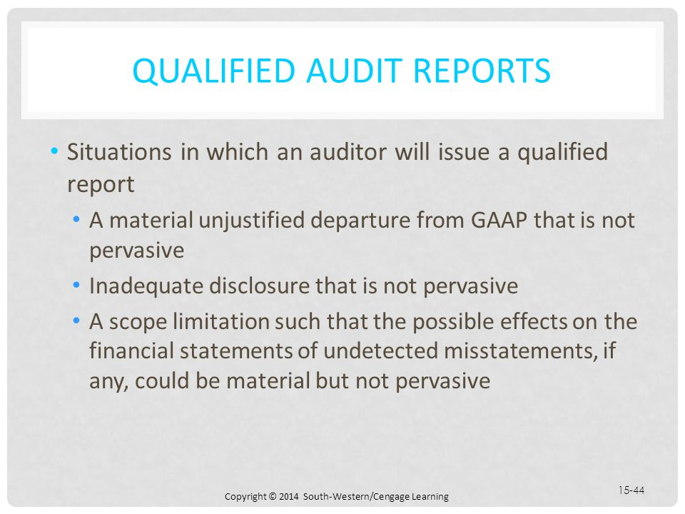 CHAPTER 15 AUDIT REPORTS ON FINANCIAL STATEMENTS - ppt download